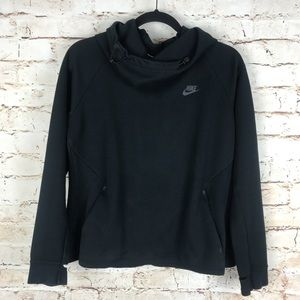 Nike Black Cowl Neck Hooded Sweatshirt Sz L